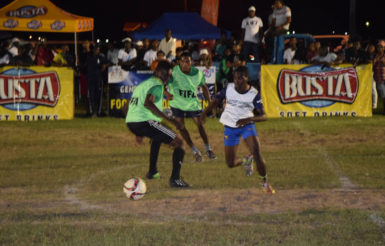 Flashback-Part of the earlier action between Albouystown and Tucville in the Ministry of Health/Petra Organization Soft Shoe Championship at the Santos Training Area in the Square of the Revolution