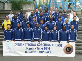 Theo Henry (second from right, front row) poses with the other attendees of the three-month International Coaching Course from the University of Physical Education in Budapest, Hungary.