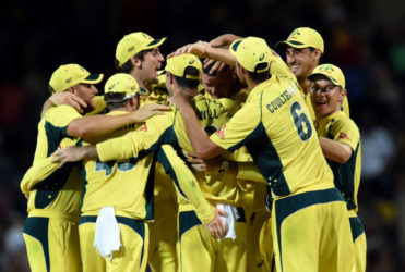 The Australian team celebrate their Tri Series tournament triumph over the West Indies following yesterday's final. (Cricinfo)