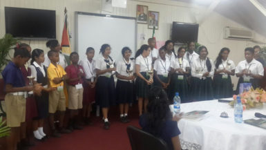 Students of Guyana and Suriname who participated in the first Inter-Guianas Spelling Bee Competition, held yesterday at NCERD.