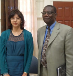 The newly appointed Deputy Commissioner General Hema Khan (left) with Chairman of the Guyana Revenue Authority (GRA) Board Rawle Lucas.She was introduced during a press conference held yesterday.