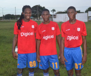 GTI marksmen from left to right-Tafari Simon, Shawn Nassy and Ronaldo Thomas following their team's win over St. Joseph's High School yesterday.
