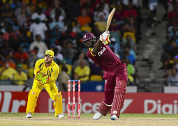 Captain Jason Holder hits through the off-side during his 34 against Australia in the final of the Tri-Nations Series. (Photo courtesy WICB Media)