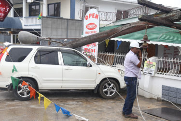 Roy Kirton's Honda CRV which suffered extensive damage after a utility pole belonging to GPL collapsed on Monday.