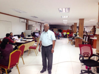 Sattaur Gafoor in the temporary office which was set up after the fire