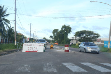 The northern carriageway of Carifesta Avenue closed yesterday.