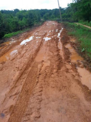 The condition of the road a few days ago