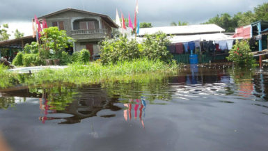 A house at Pine Ground, Mahaicony creek under flood water