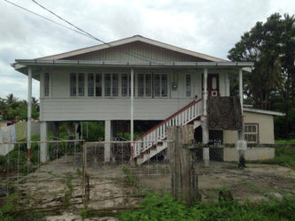 The Lot 2233 Crane Housing Scheme, West Coast Demerara (WCD) house, where Latchmin Shiwpujan's body was discovered in the bottom flat.