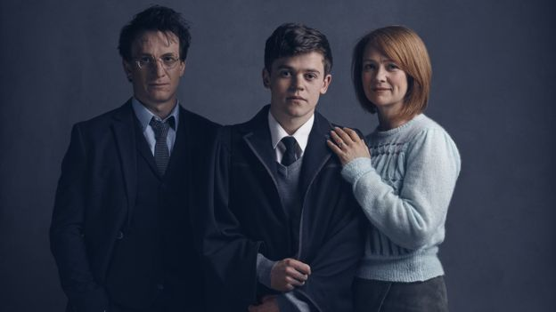 Jamie Parker (Harry), Sam Clemmett (Albus) and Poppy Miller (Ginny Potter)