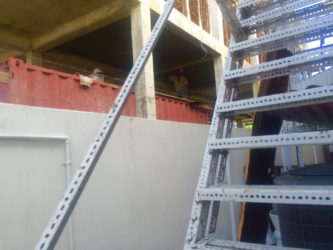 Two of the workmen on site on Thursday.