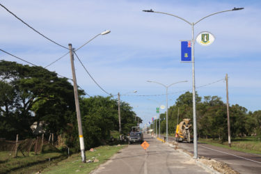 New lights have been installed along Carifesta Avenue, where the flags and coat of arms of the Caricom member states have also been mounted ahead of next week's Heads of Government summit. (Photo by Keno George)
