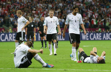 FLASHBACK! Germany's players were crestfallen after ther Euro 2012 semi-final defeat to Italy and will be seeking to avenge that loss in today's quarterfinal.