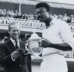 WI Captain Clive Lloyd accepts the 1975 World Cup trophy from the Duke of Edinburgh