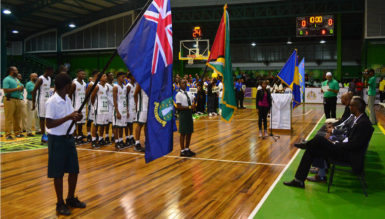 Scenes from the opening ceremony of the Caribbean Basketball Confederation u16 Championship featuring the Guyana and Aruba teams at the Cliff Anderson Sports Hall