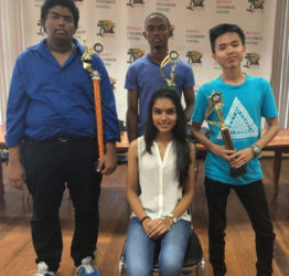In photo from left, CM Taffin Khan, CM Anthony Drayton and Haifeng Su with representatives of Andrew Arts, Miss Reesa Sooklall, the reigning Miss Guyana Talented Teen.