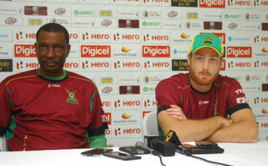 Guyana Amazon Warriors head coach Roger Harper and Captain Martin Guptill during yesterday's press conference