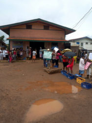 Residents of Port Kaituma stood in front of the Matarkai Neighbourhood Democratic Council (NDC) on Tuesday expressing dissatisfaction with the state of the Matarkai Roads.