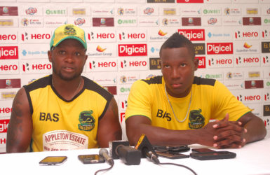 Tallawahs bowling coach (left) Donovan Miller and batsman Rovman Powell (right)