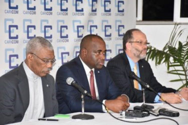 From left: President David Granger co-host, CARICOM Chairman and host Prime Minister of Dominica, Roosevelt Skerrit and Secretary General, CARICOM, Ambassador Irwin La Rocque at the closing press conference. (GINA photo)