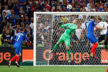 Germany's Manuel Neuer attempts to claim the ball leading to France's Antoine Griezmann scoring their second goal REUTERS/Kai Pfaffenbach Livepic