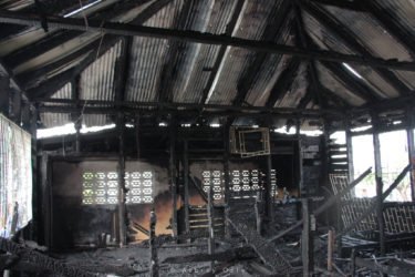 The centre in the aftermath of the fire yesterday. (Keno George photo)