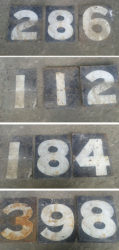 The metal plates with the numbers for the old scoreboard (Photos by Roger Seymour)