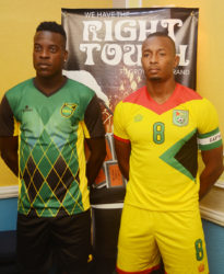 Guyana's Chris Nurse, right and Jamaica's Jevaughn Watson are hoping for an exciting encounter between the two sides today. (Orlando Charles photo)