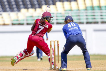 West Indies Women captain Stafanie Taylor cuts en route to her top score of 56 in the second ODI against England Women on Monday. (Photo courtesy WICB Media)