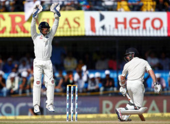 India's Wriddhiman Saha successfully appeals for the wicket of New Zealand's Kane Williamson. REUTERS/Danish Siddiqui
