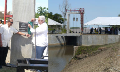 The new Ba-gotville sluice. Inset is Minister Holder being assisted by Regional Chairman of Region 3, Julius Faeber, in unveiling the plaque to mark the commissioning of the sluice