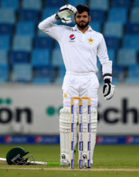 Opener Azhar Ali celebrates his triple hundred against West Indies in the day/night opening Test yesterday.