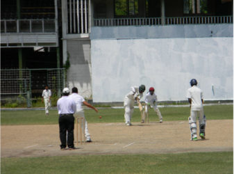Sachin Singh plays a delivery to the leg side during his 101 for Chase Academy yesterday.