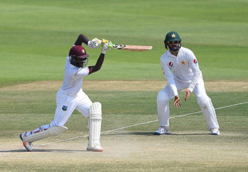 Jermaine Blackwood drives during his top score of 95 on the final day of the second Test against Pakistan in Abu Dhabi. (Photo courtesy WICB Media)