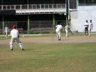 Alphius Bookie during his innings of 45 not out, as Christ Church defeated School of the Nations by 8 wickets, in the GCB/NSSCL (See page 25)