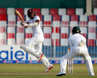 Opener Kraigg Brathwaite gathers runs through the on-side during his unbeaten 95 on the second day of the final Test against Pakistan. (Photo courtesy WICB Media)