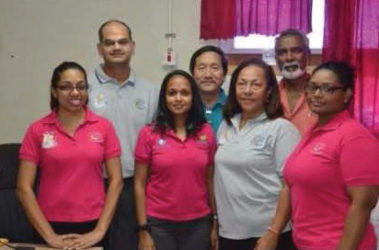 From left to right at back are ophthalmologists Dr. Rishi Sharma, Dr. Terrence Allan and Dr. Deo Singh. Front row are ophthalmological technicians Savitri Roopnaraine, Sasha Hosein, Dr. Sonja Johnston, ophthalmologist and ophthalmological technician Natasha Reyes. (GINA photo)