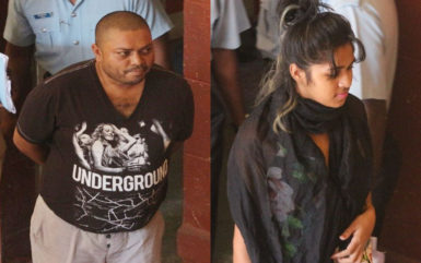 Back in court: In this Keno George composite photo, Barry Dataram (left) and his wife Anjanie Boodnarine at court yesterday to answer three charges including fleeing the jurisdiction.