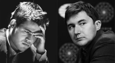World chess champion Magnus Carlsen (left) and his challenger for the title Sergey Karjakin. It's the first time two players who have come of age in the computer era are fighting for the title; this represents a generational shift in chess.