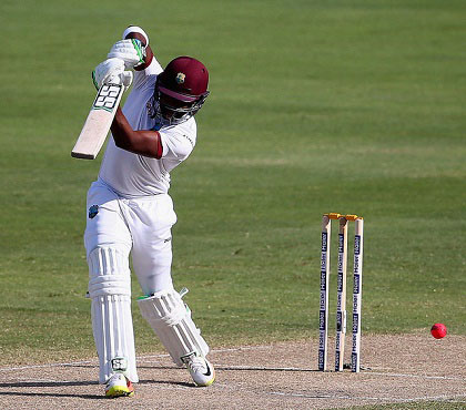 Left-hander Darren Bravo drives sweetly during his top score of 87 on the third day of the day/night Test yesterday. (Photo courtesy WICB Media)  See page 31