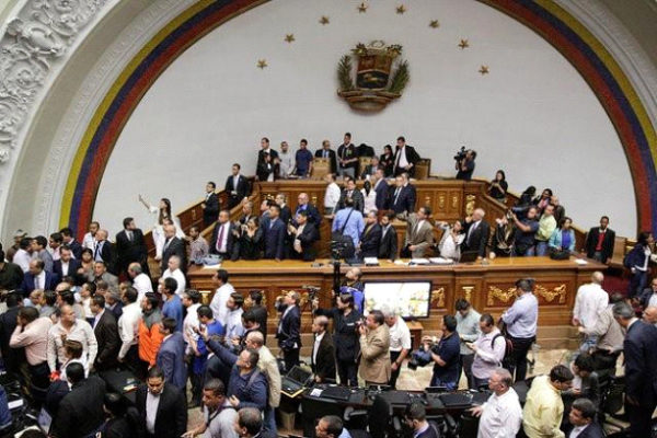 A general view of Venezuela's National Assembly as supporters of Venezuela's President Nicolas Maduro (not pictured) storm into a session of the National Assembly in Caracas, Venezuela October 23, 2016. REUTERS/Marco Bello