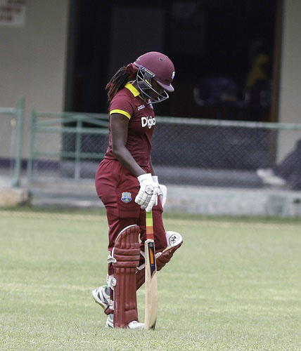 West Indies Women captain Stafanie Taylor cuts a forlorn figure as she trudges off after being dismissed for 57 in the final ODI against England Women yesterday. (Photo courtesy WICB Media)