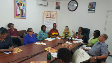 Chairperson of the WGEC, Indra Chandarpal (third from right) and other members, from right: the lone male who represents the cultural aspect, Peter Persaud, Debra Henry, a professional; Vanda Radzik, Nicole Cole,  Sandra Hooper and Halima Khan of the ROC