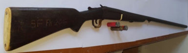 The shotgun along with the three cartridges. (Guyana Police Force photo)