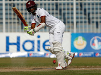 Man of the match Kraigg Brathwaite taking the West Indies to victory in the Third Test vs Pakistan (Photo courtesy of WICB Media)