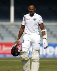 Batsman Shane Dowrich beams after helping to steer West Indies to victory over Pakistan on the final day of the third Test on Thursday. (Photo courtesy WICB Media)