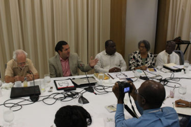 (From left) Public relations consultant Kit Nascimento, Head of Smart City Solutions Amir Oren  and Town Clerk Royston King during the press briefing yesterday morning at the Guyana Marriott Hotel.