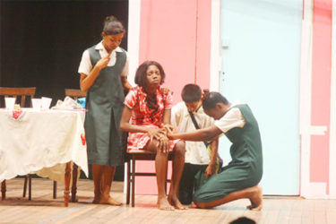 Leonora Secondary School students during their performance in the National Drama Festival at the National Cultural Centre in November 2013. (Stabroek News file photo)
