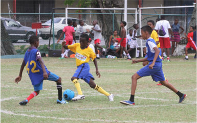 David Xavier (centre/blue) challenging a Marian Academy player for possession of the ball during their quarterfinal matchup in the Courts Pee Wee Football Championship at the Thirst Park ground