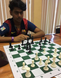 New National junior chess champion Saeed Ali contemplates a move during the recent Closed championships.